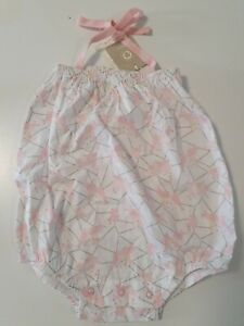 JAIME KING for SAPLING - 100% organic cotton - PINK halter bubble suit BNWT Sz 1