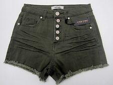 NWT Refuge Olive Denim Shorts Cheeky Hi-Rise 5 Button Charlotte Russe Size 0