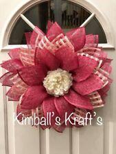 Pink Daisy Wreath, Spring Wreath, Summer, Easter, Home Decor, Burlap Flower,