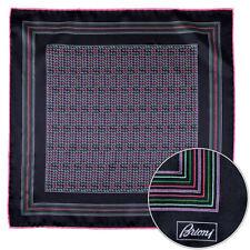 Men's BRIONI Black Pink Green Silk Hand Made Rolled Pocket Square Handkerchief