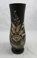 Floral Hand Carved Dark Wooden Etched Beautiful Flower Pot Vase Made In Bali