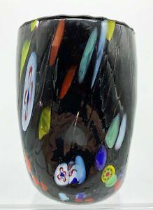 """ARLECCHINO"" MURANO GLASS STEMLESS WINE GLASS  / OLD FASHIONED GLASS - BLACK"