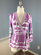 BCBGMaxazria Purple Faux Wrap Top S Excellent Career Casual 3/4 sleeve stretch