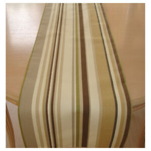 """Table Runner 72"""" Brown Green Beige Grey Cream Stripes 6ft Rustic Neutrals Dining"""