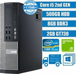 FAST DELL QUAD CORE i5 COMPUTER DESKTOP WINDOWS 10 8GB 500GB HDD GAMING PC CHEAP