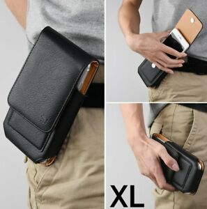 for XL Phones - Black VERTICAL Leather Pouch Holder Belt Clip Card Pocket Case
