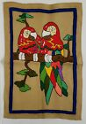 """Handmade Needlework Art Tapestry Pair of Red Parrots on Branch  15.5"""" W x23"""" H"""