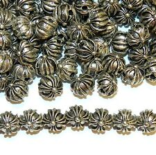 MBX7263 Antiqued Silver Cross Embellished Flat Round 8mm Alloy Metal Bead 100pc