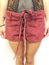 FAB ONE TEASPOON MAROON SUEDE LACEUP FRONT FESTIVAL SHORTS SZ 10