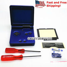 GBA SP Game Boy Advance SP Replacement Housing Shell Screen Lens Cobalt Blue USA