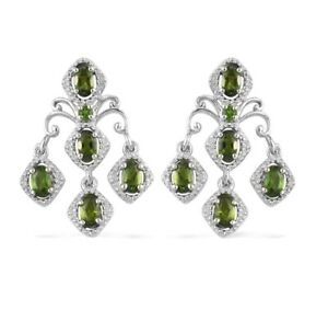 2.50 ctw Natural Russian Diopside Earrings in Platinum Over Sterling Silver