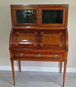 Victorian Burr Walnut Cylinder Writing Desk/ Bureau