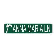 ANNA MARIA LN Island Beach Resort - Green Vinyl on White - 4X17 Aluminum Sign