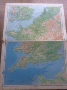 "1942 Vintage John Bartholomew Atlas Map 20"" France & Belgium"