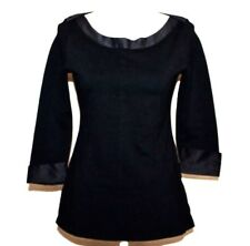 CHANEL Uniform black Blouse, top, 3/4 sleeve with cc logo satin sz. M