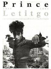 """NEWSPAPER CLIPPING/ADVERT 3/9/94PGN22 15X11"""" PRINCE : LETITGO"""