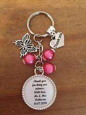 Wedding WITNESS Thank You Keyring Keepsake Gift ANY WORDING ANY COLOUR BEADS