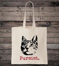 Persist Pursist Cats and Feminism Feminist Cotton Shopping Tote Bag