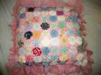 Antique 1920's Pink Ruffle YoYo Quilt Pillow Chic Shabby Cottage Delicate