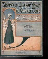 There's A Quaker Down In Quaker Town Sheet Music 1916 DeTakacs
