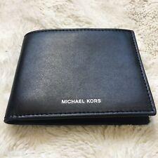 Michael Kors Warren Mens Leather Billfold with Passcase Wallet Black