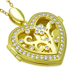 "Love Heart Flower Locket Necklace, 18"" 925 Sterling Silver Yellow Gold-Tone Cz"
