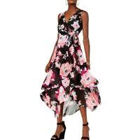 INC NEW Women's Sleeveless Floral V Neck Tie Waist Dress TEDO