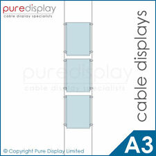A3 Portrait Set 1x3 - Window Wire Cable Display System