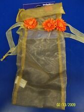 Tuscany Vintage Floral Mums Flower Garden Party Deluxe Fabric Bottle Gift Bag