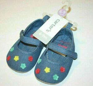 Carter's Baby Blue Rainbow Flowers Crib Shoes 6-9 Months New NWT