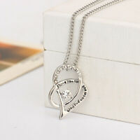 """""""I Love You To The Moon and Back """" Heart Shaped Pendant Crystal Necklace Jewelry"""