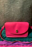 Fossil Austin Bright Pink Smooth Leather Flap Turn Lock Hobo Tote Shoulder Bag