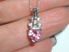 AWESOME 10KWG GORGEOUS PINK TOPAZ  DIAMOND PENDANT TOP QUALITY CLEAN GEMS