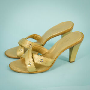 Tod's Size 8 Sandals Heels Gold Metallic Smooth Leather Cross Strap Slip On Tods