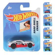 5 x Hot Wheels Hard Shell Erasers Car Shape Novelty School Stationery