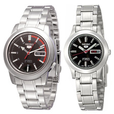 Seiko 5 Classic Black Dial with Red Bar Couple's Stainless Steel Watch Set