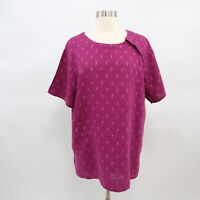 Flax Shirt Blouse Top 100% Linen M Boxy Pink Purple Magenta Pattern Lagenlook