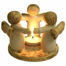 Ceramic Angel Ring Tealight Candle Holder Friends Circle 9.5 cm High