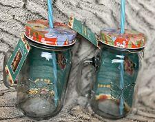 Pioneer Woman Homemade Goodness 16 Oz Mason Jar Timeless Floral lid & straw 2ct