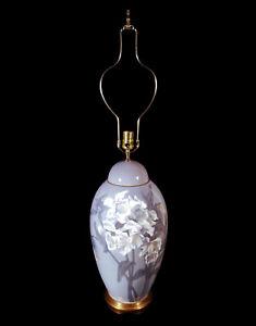 MONUMENTAL RARE VINTAGE BING & GRONDAHL DECORATED DANISH PORCELAIN LAMP DENMARK