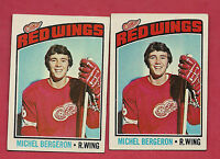 2 X 1976-77 TOPPS # 71  RED WINGS MICHEL BERGERON ROOKIE  CARD