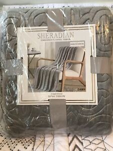 """Flannel Chair Throw Recliner Lap Blanket Embossed Gray 50"""" x 60""""  New in Package"""