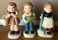 Candle Wax Figurines Boy Girl Set of 3 VINTAGE Made in Japan
