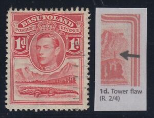 "Basutoland, SG 19a, used ""Tower Flaw"" variety"