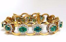13.10ct Bright vivid green natural emerald diamonds cluster link bracelet 14kt