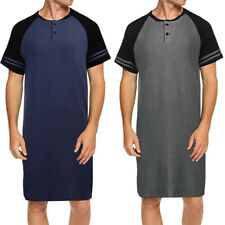 Men Short Sleeve Pyjama Nightshirt Sleepwear Loose Long Top Loungewear Nightwear