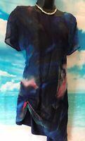 PHASE EIGHT 14 BNWT Blue AURORA Print SILK Mix Longline Tunic Blouse Top