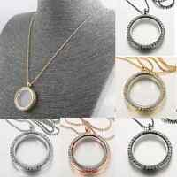 Living Memory Floating Charms Crystal Glass Round Locket Pendant Necklace New