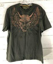 Marc Ecko Devil Head Wings T Shirt Size Large Mens 72 Times Square NY Olive U8