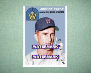 Johnny Pesky Washington Senators 1954 Style Custom Baseball Art Card